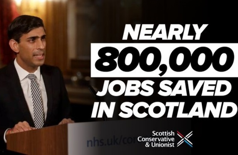 Nearly 800,000 jobs have been saved in Scotland through the furlough scheme.